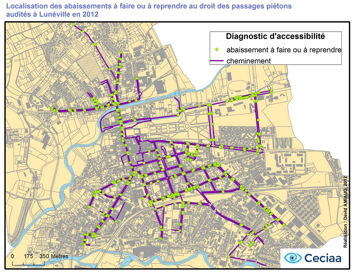 Cartographie diagnostic accessibilité Lunéville 2012 - ACceciaa